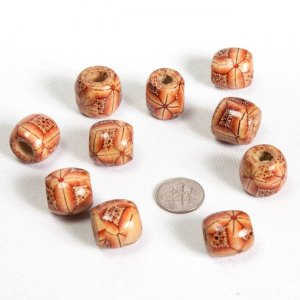 Painted Drum Pattern Wood Beads 17x16mm