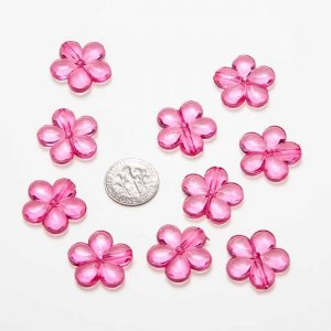 Acrylic Crystal Fuchsia Flowers 20x20mm,HoleApprox 1mm, 50PCs