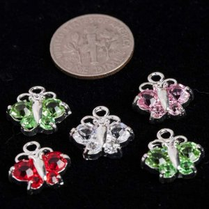 Mixed Silver Plated Rhinestone Butterflies 13x13mm