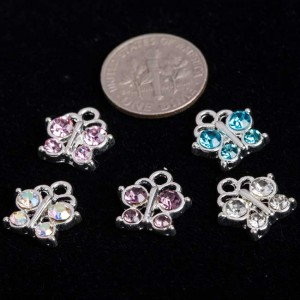 Mixed Silver Plated AB Color Rhinestone Butterfllies 13x12mm