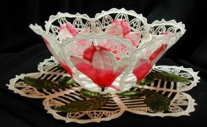BFC0180 Lace Bowl & Doily Pink Magnolias