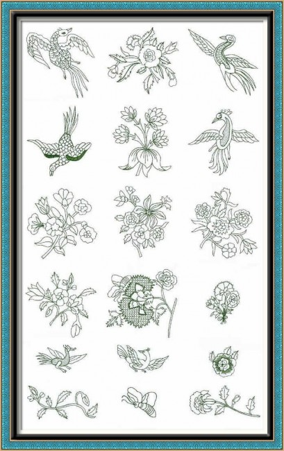BFC1022 Persian Flowers & Birds Blackwork