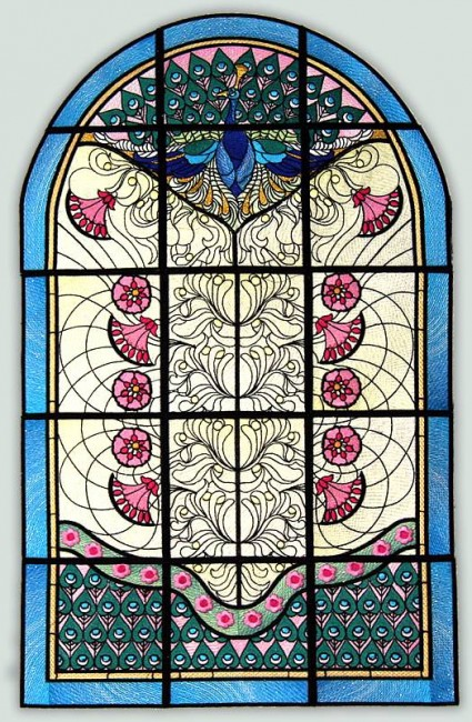 BFC1034 QIH or Regular Stained Glass Peacock w/flowers