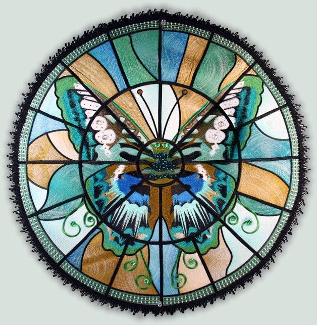 BFC1114 Stained Glass Butterfly in a Circle