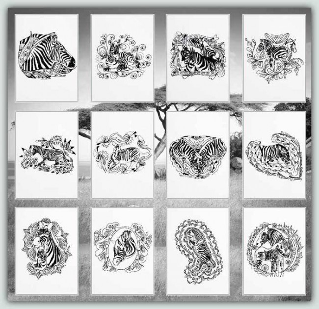 BFC1192 Decorative Elements Series Blackwork Zebras