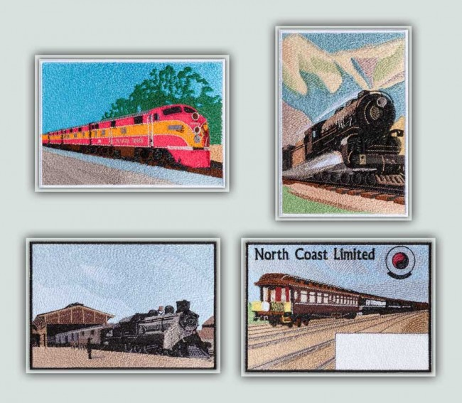 BFC1276 Vintage Train Postcards Thread Kit