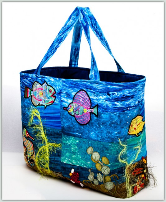 BFC1352 Embellished Sea Life and Tote Bag