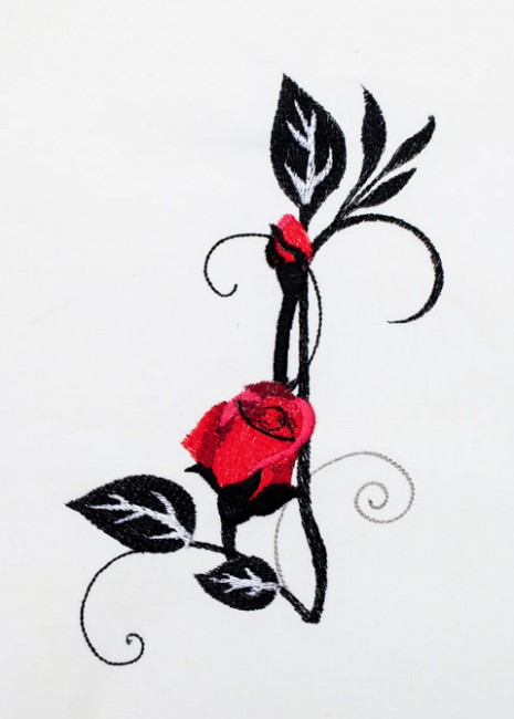 BFC1354 Red Roses - Black Scrolls