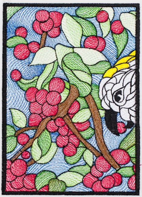 BFC1359 Stained Glass - Cockatoo in a Cherry Tree
