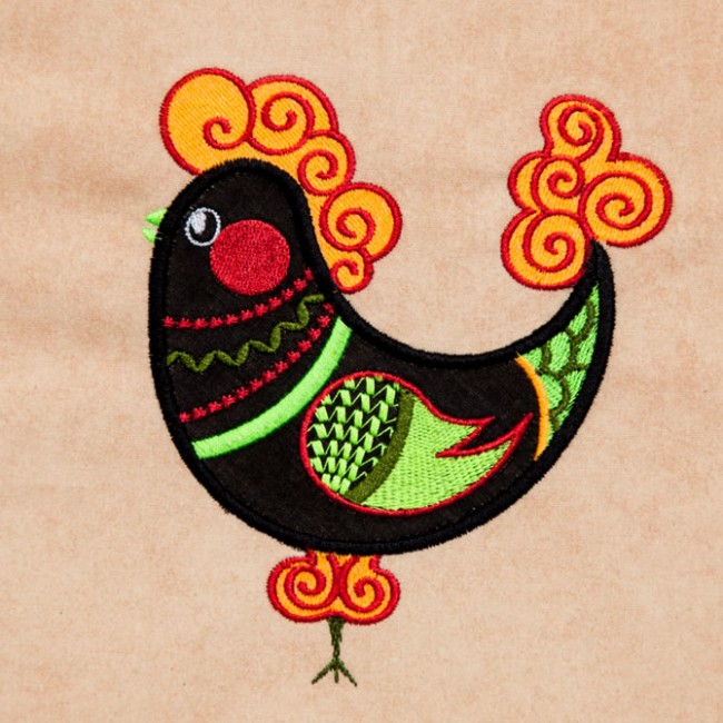 BFC1386 Embellished Funky Roosters