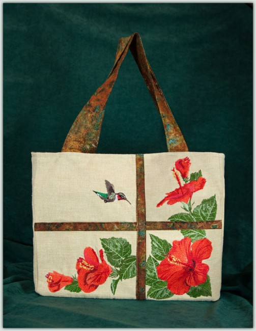 BFC1427 Hummingbird and Hibiscus Handbag