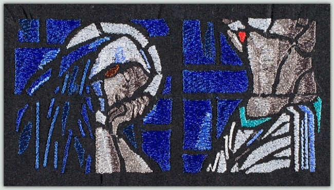 BFC1488 Large Stained Glass - Jesus and Mary