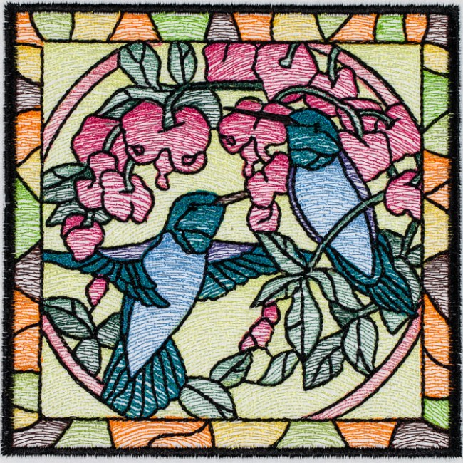 BFC1494 Stained Glass Squares Birds and Butterflies