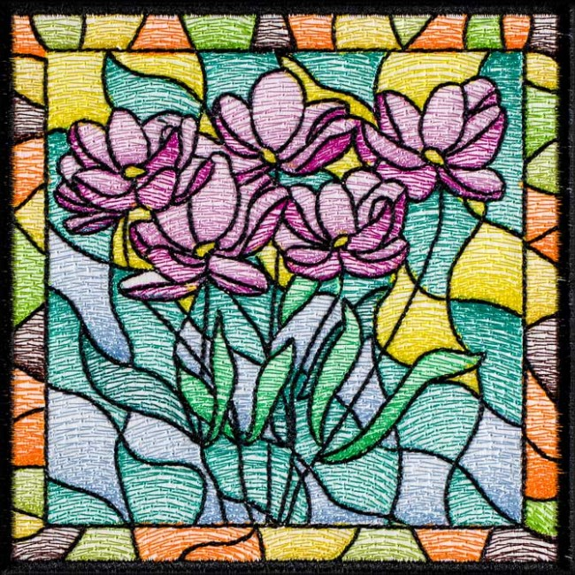 BFC1508 Stained Glass Floral Squares III
