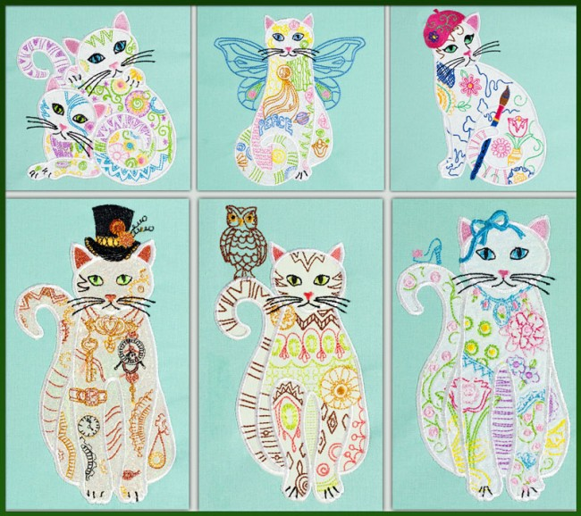 BFC1534 Applique or Not Adorable Felines