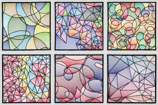 BFC1543 Stained Glass Quilt Squares-Abstract Patterns