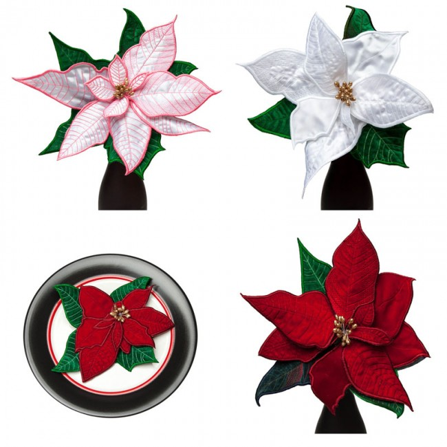 BFC1629 QIH Applique Poinsettias