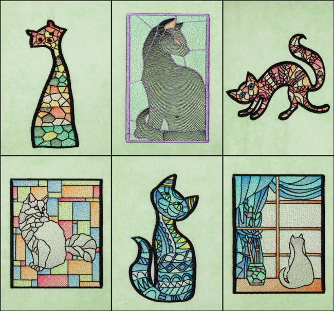BFC1658 Stained Glass Cats by Fred