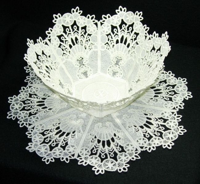 BFC0218 Lace Bowl & Doily White Lace