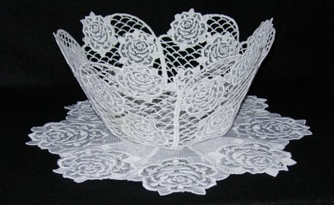 BFC0240 Lace Bowl & Doily-Lace Rose