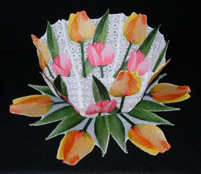 BFC0248 Lace Bowl & doily-Watercolor Tulips