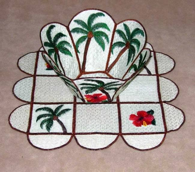 BFC0264 Lace Bowl and Doily-Tropical Palms