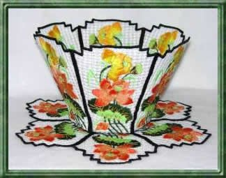 BFC0288 Lace Bowl and Doily Lotus Flowers