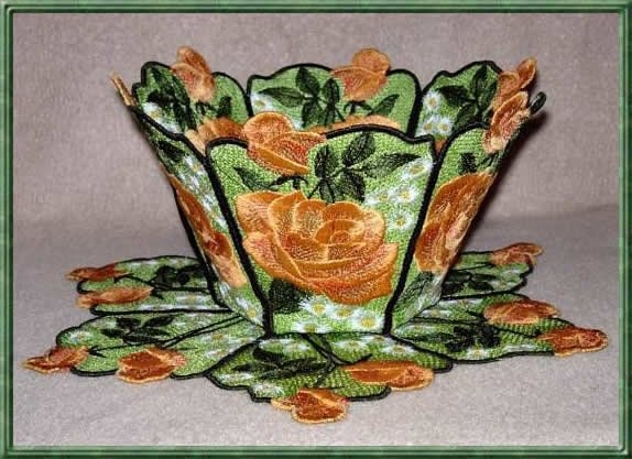 BFC0301 Lace Bowl & doily-Watercolor Roses