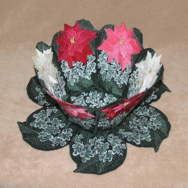 BFC0382 Lace Bowl & Doily Poinsettias