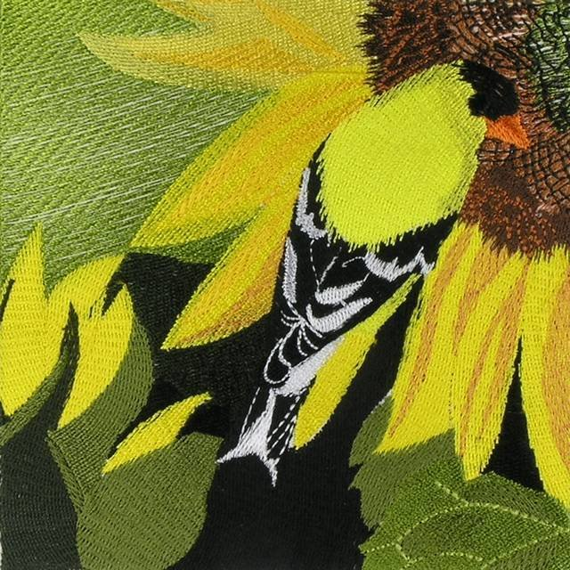 BFC0593 Window - Sunflowers and Finches