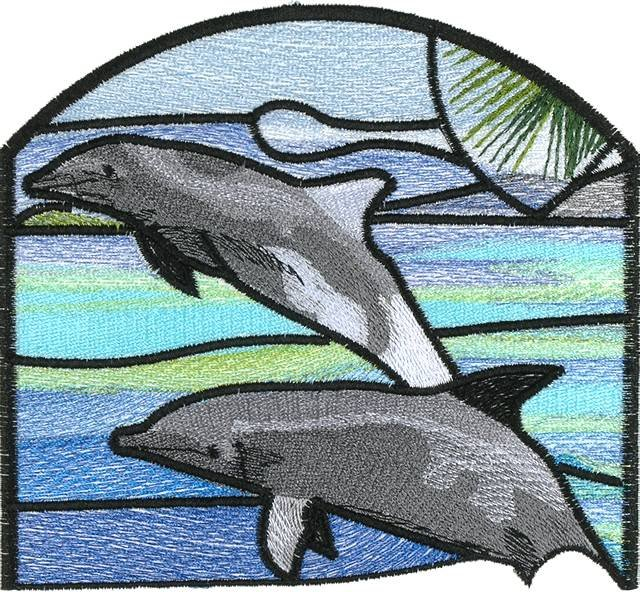 BFC0664 Stained Glass Dolphins