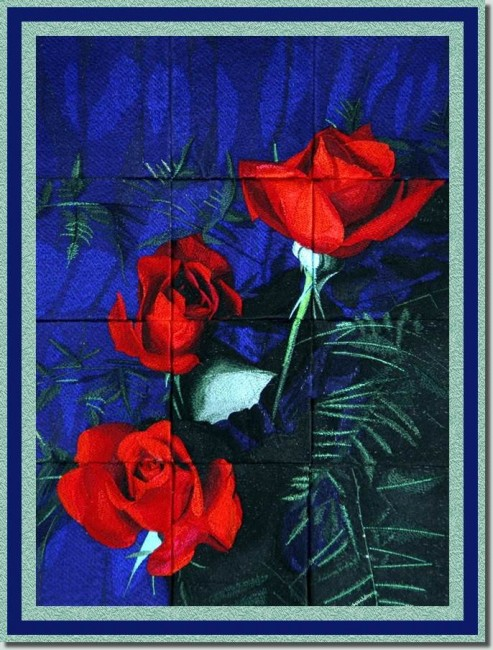 BFC0758 Window - Red Roses