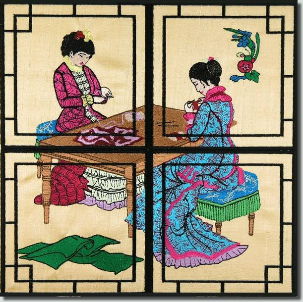 BFC0898 Chinese Sewing Ladies Triptych