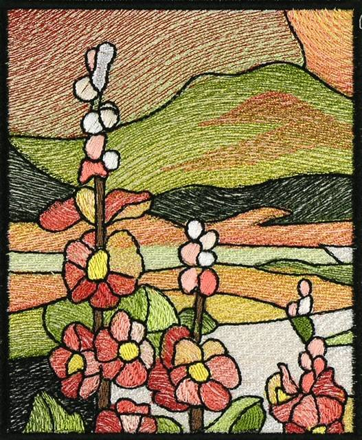 BFC0914 Stained Glass- Hollyhock Triptych