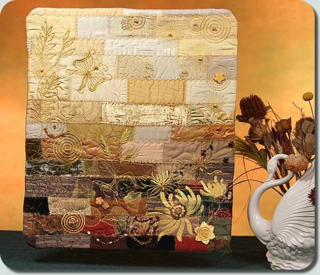 Bfc0959 Flowery Scrappy Art Quilt