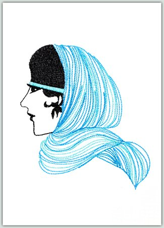 Lady with Blue Scarf