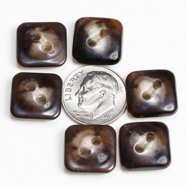 Vintage Acrylic Buttons- Brown Agate small