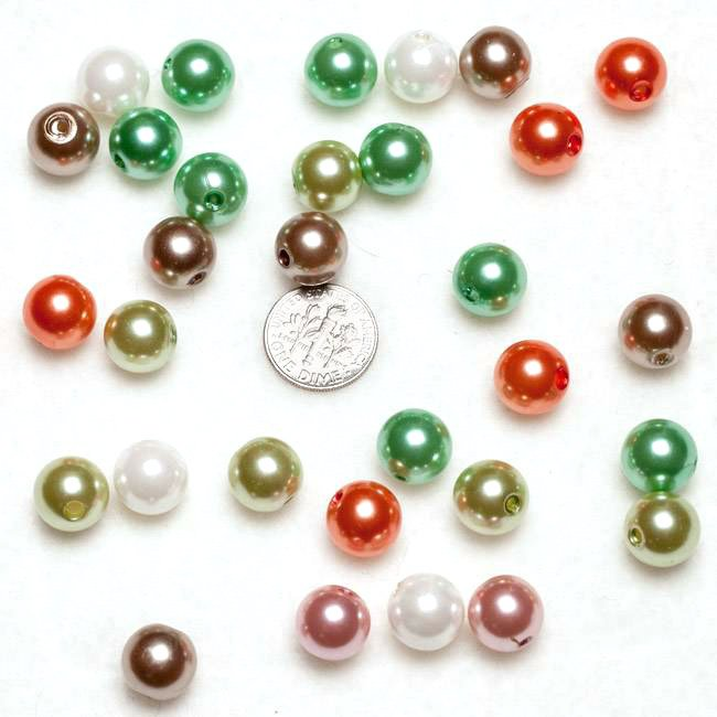 Mixed Pearl Round Acrylic Beads 12mm