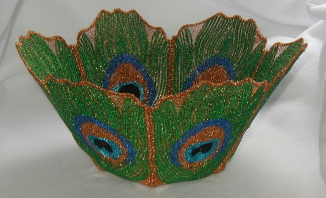 BFC0181 Lace Bowl & Doily - Peacock